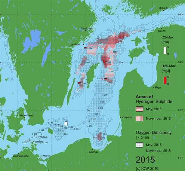 """Karten der Ostsee-""""Todeszonen"""": Langzeitdaten aus knapp 40 Jahren zeigen Entwicklung der Sauerstoff-Minimumzonen"""