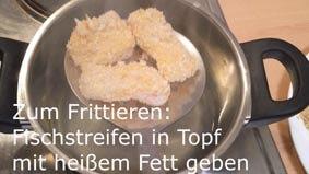 Fischnuggets werden in heißem Fett frittiert