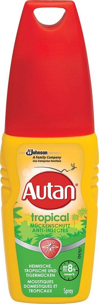 Sehr guten Insektenschutz bietet der Preis-Leistungs-Sieger beim Mückenspray Vergleich 2018 Autan Tropical Pumpspray
